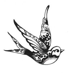 cute tattoo idea design tribal bird