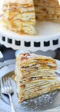 Maple Pecan Praline Crepe Cake makes an impressive and delicious brunch or dessert..jpg