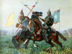 A Mongol on the left and another steppe warrior battle one on one.