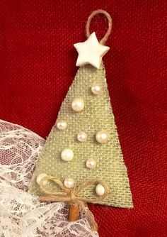 Sage Green Burlap Christmas Tree Ornament by BurlapTooCashmere