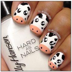 Cow nails are too cute ! Classy Nails, Fancy Nails, Stylish Nails, Pretty Nails, Animal Nail Designs, Acrylic Nail Designs, Nail Art Designs, Acrylic Nails, Cow Nails