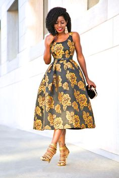 NYE: Golden Rose Midi Dress