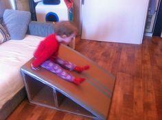 homemade slide (or ramp for cars & trucks) Diy Slides, Indoor Slides, Toddler Slide, Kids Slide, Projects For Kids, Diy For Kids, Crafts For Kids, Diy Cardboard, Cardboard Kitchen