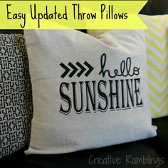 Easy Updated Throw Pillows using a Silhouette and heat transfer vinyl