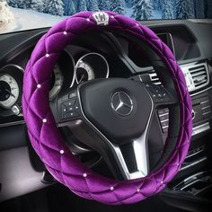 $20.65 Hot Winter Steering Wheel Crystal Crown Auto Fur Cases For Women Girls Car styling - Purple, No stimulation, Non-Slip, Excellent breathability, pest control, sterilization, anti-static, Easy to clean, no deformation, high wear resistance, Four Seasons General.