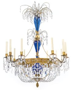 A Russian Neoclassical cut glass-mounted ormolu and blue glass twelve-light chandelier circa 1800 - Sotheby's