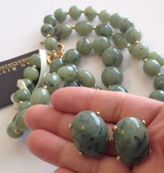 Signed NOS Joan Rivers Set TWO Necklaces Clip Earrings Jade Green Beads GT