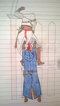 Assassins Creed Altair and Arno trying to climb a wall art drawing