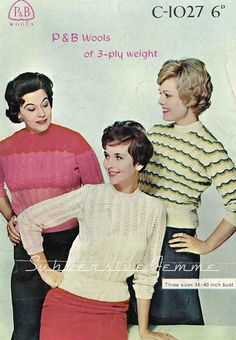 The Vintage Pattern Files: 1950's Knitting - Fan and Feather Jumper