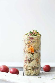 HEARTY, Simple Vegan Potato Salad! 10 ingredients, vegetable-packed, SO delicious! #vegan #plantbased #glutenfree #potatosalad #healthy #recipe