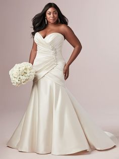 We love vintage fabrications, vampy details, a flattering silhouette, and any combination thereof. Case in point? This strapless fit-and-flare wedding dress inspired by Old Hollywood glamour. #weddingdress #bridalgown #rebeccaingram #satin #fitandflare #atlasbridalshop #weddinggown Wedding Dress Prices, Plus Size Wedding Gowns, Designer Wedding Gowns, Fit And Flare, New Model Dress, Sottero And Midgley Wedding Dresses, Bridal Dresses, Bridesmaid Dresses, Prom Dresses