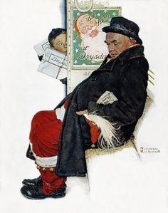 Santa en tren. 24 de diciembre 1940. The Saturday Evening Post ....