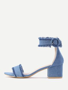 79c80f0251f5fa SheIn offers Raw Trim Block Heeled Denim Sandals   more to fit your  fashionable needs.