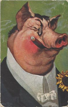 1909 Thiele Pig in Suit Smokes Cigar Sunflower Smoking Tobacco |