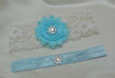 Aqua Blue Bridal Keepsake and Toss Garter with Shabby Rhinestone by DESIGNERSHINDIGS on Etsy