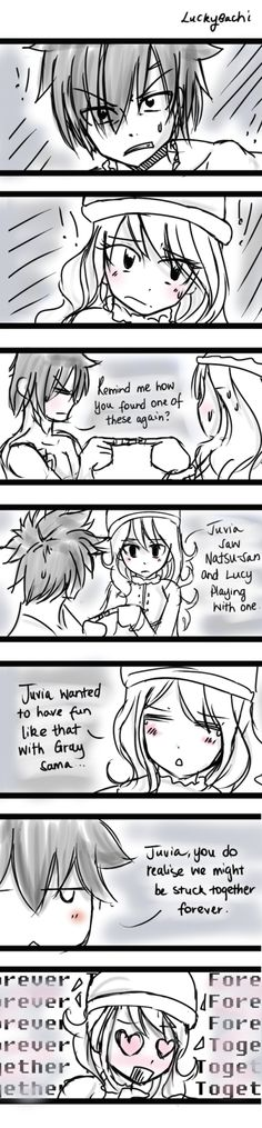 luckybachi: May - Day Together wow it's HAHA Sorry it's messy, I fail tonight TwT Gonna do Nalu version later. uwu They have a chinese finger trap by the way hahaha Do not use or repost. Fairy Tail Gruvia, Fairy Tail Funny, Fairy Tail Ships, Juvia And Gray, Nalu, Fairytail, Fairy Tail Couples, Short Comics, Anime Fairy
