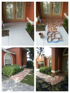 DIY ideas: How To Paint Your Cement Floors And Convert It To A Beautiful Pavement – Instructions + Video - Concrete design ideas Concrete Patios, Concrete Floors, Flagstone, Back Patio, Backyard Patio, Outdoor Projects, Home Projects, Painting Concrete, Outdoor Flooring