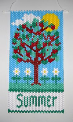 Handmade Hand Beaded Summer Tree Beaded Banner with Nylon Cord Hanger Pony Bead Crafts, Beaded Crafts, Beaded Ornaments, Peyote Patterns, Beading Patterns, Tiny Cross Stitch, Summer Trees, Pony Bead Patterns, Stud Earrings