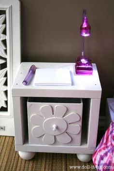 """IMG_5077 - DIY bed side table for 18"""" doll - American girl doll or Designafriend. Site has other ideas too"""