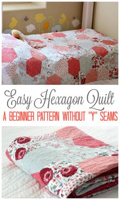 """Make a hexagon quilt the easy way! No """"y"""" seams, just straight line sewing. Makes a darling throw, baby quilt, or bed quilt depending on how many half-hexagons you stitch together. Hexagon Quilt Pattern, Quilt Patterns, Quilting Ideas, Hexagon Patchwork, Quilting Projects, Blouse Patterns, Quilt Tutorials, Sewing Tutorials, Dress Tutorials"""