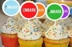 "Embark cupcake toppers in the value colors! I love the YW torch on the ""E"" of the Embark!"