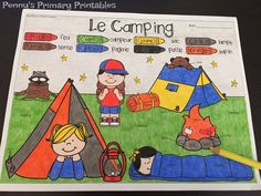 French Camping Write the Room! Perfect for any time of the year this set is filled with great French vocabulary activities including the write the room activity, word puzzles, colour by word pictures and more! Perfect for centres! Save money with the Write the Room bundle and get sets for the whole year and future sets for free! #frenchimmersion #camping #summer #french #francais
