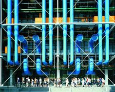 photograph of centre pompidou in paris, an early collaboration by richard rogers and renzo piano on display at royal academy of arts as part of the 'inside out' retrospective exhibition Renzo Piano, Georges Pompidou Centre, Centre Pompidou Paris, Louis Kahn, Richard Rogers, Royal Academy Of Arts, Galleries In London, Things To Do In London, Building Structure