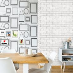 Create your own customisable picture wall!   Crown Picture Wall Black/White Wallpaper | Inspired Wallpaper