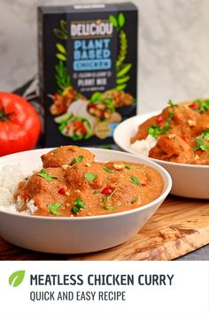 This plant based butter chicken will have you second guessing if it's the real thing! Enjoy this easy to make dish that's vegan. Tasty Vegetarian Recipes, Vegan Dinner Recipes, Curry Recipes, Vegan Dinners, Veggie Recipes, Indian Food Recipes, Whole Food Recipes, Cooking Recipes, Healthy Recipes