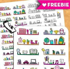 Download this free printable set of cute shelves stickers to divide your planner boxes. Perfect for EC life planner, Happy Planner and more. More planner freebies on lovelyplanner.com