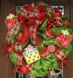 Christmas Wreaths | Deco Mesh WHIMSICAL BOW and PRESENTS Christmas Wreath by decoglitz