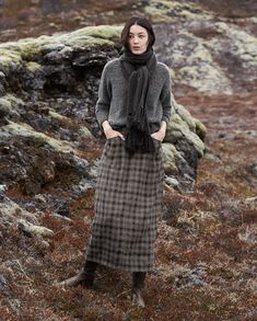 Image of Wool check skirt