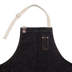 Dril de algodón bolsillo lateral delantal Unisex negro por