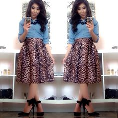 Modest Midi Skirt! Styling with Leopard Print!