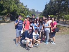 The tour guide took a picture of our class in front of the Borobudur temple.