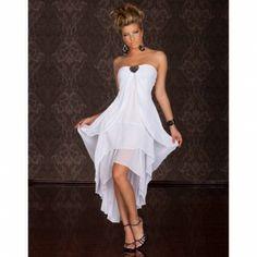 Vestido de Gasa sin Tirantes Blanco