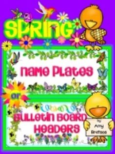 two styles of spring themed name plates/bulletin board heading labels