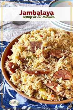 Jambalaya is a quick easy and healthy one pot meal. Perfect for weeknights as well as Mardi Gras celebrations #onepotmeal #weeknightdinner #cajunrecipe #thatrecipeblog Pork Recipes For Dinner, Easy Pasta Recipes, Creole Recipes, Cajun Recipes, Quick Easy Dinner, Easy Meal Prep, Southern Food, Southern Recipes, Healthy One Pot Meals
