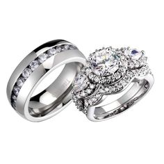 His And Hers Wedding Ring Sets Three Stone Cubic Zirconia Sterling Silver Round Titanium Wedding Sets