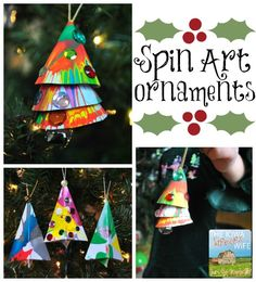 Spin Art Ornaments - arts & crafts activity from the blog