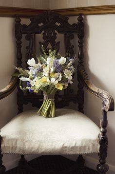 Forget-me-not, bluebell and wheat bridal boquet. Simply just sat in the corner. A small thing sometimes makes a big statement.