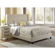 Found it at AllModern - All-N-One Upholstered Queen Panel Bed http://www.allmodern.com/deals-and-design-ideas/p/Most-Loved-Headboards-%2B-Beds-All-N-One-Upholstered-Queen-Panel-Bed~PRIH1119~E17983.html?refid=SBP.rBAZEVSyPSxkTSAa3egTAh3_x3kOeEkxkrojaMHymRE