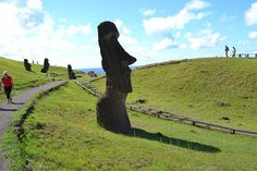 Daily Moment of WOW!  The immense size of the stone totems is apparent on Rapa Nui (Easter Island), Chile.  Been to Rapa Nui?  Come rate and review it today at DestinationRecommended.com/destinations/easter-island-rapa-nui! #EasterIsland #Rapanui #travel #tourism #rating #review