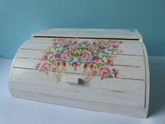 10% OFF: White Shabby Chic Roses Roll Top Wooden Bread Box Decoupaged