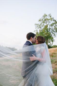 Outdoor Wedding. Bride and Groom. Long Bridal Veil. Cathedral Length Veil. Veil.
