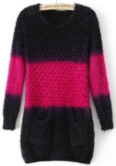 Soft and Cozy! Would be great over Black Leggings Rose Carmine Patchwork Pockets Slim Knit Pullover Sweater