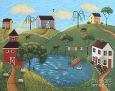 Golden Valley Folk Art by Mary Charles.  Barn, Farm, Pond.  Click on the image for link to purchase prints.