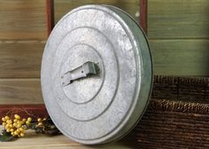Old Style Garbage Can Lid, Galvanized, Urban Office Art, Trash Can Lid, Garden Art, Vintage Trash Can, Steampunk, Yard Art, Industrial Decor by DogFaceMetal on Etsy