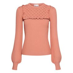 Red Valentino - Waffle Knitted Panel Ruffled Sweater ($595) ❤ liked on Polyvore featuring tops, sweaters, red top, over sized sweaters, waffle sweater, oversized tops and red sweater