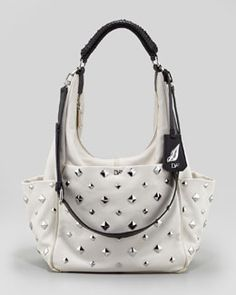 V1H48 Diane von Furstenberg Franco Studded Hobo Bag, Open Off White